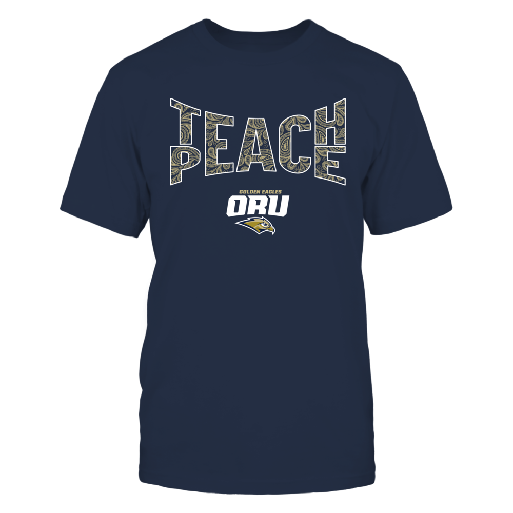 Oral Roberts Golden Eagles - Teach Peace Paisley Pattern Front picture