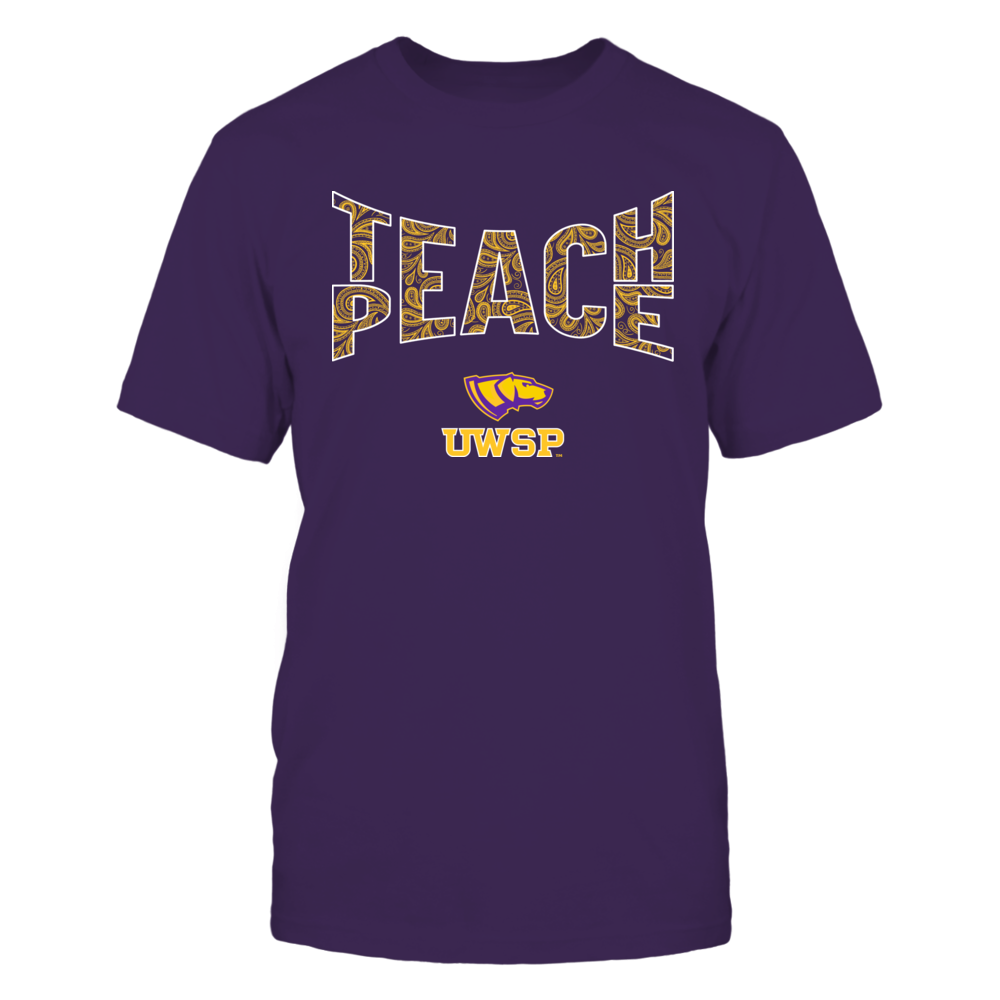 Wisconsin-Stevens Point Pointers - Teach Peace Paisley Pattern Front picture
