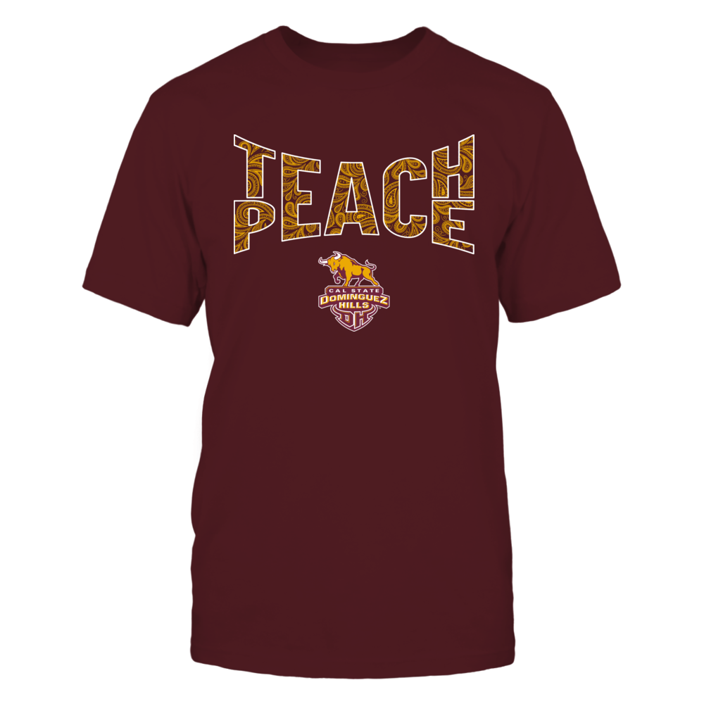 Cal State Dominguez Hills Toros - Teach Peace Paisley Pattern Front picture