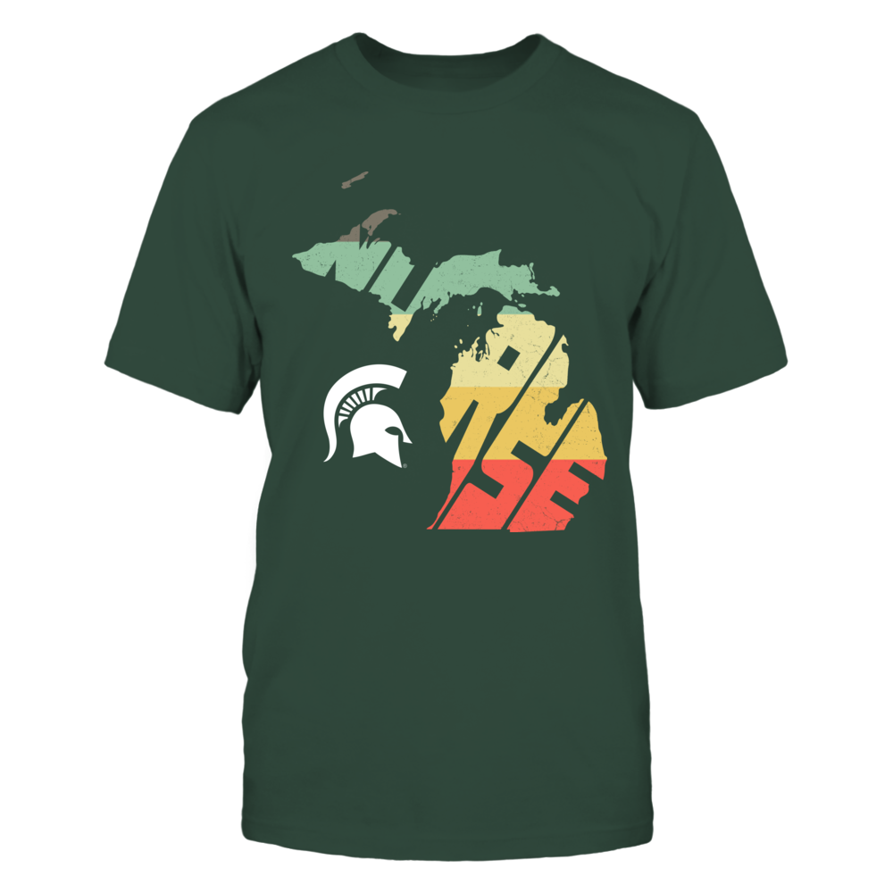 Michigan State Spartans - Nurse Inside State Map Vintage Graphic - IF17-IC17-DS37 Front picture