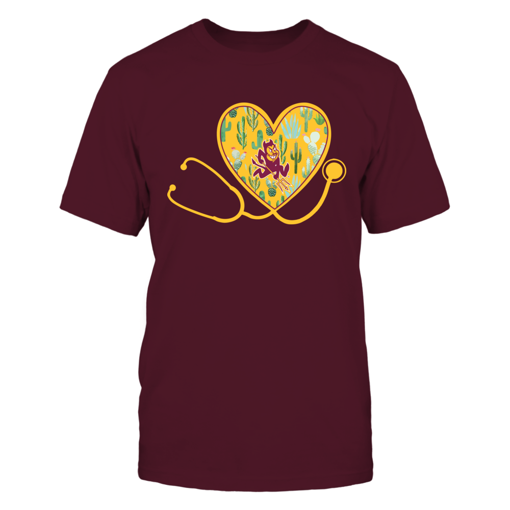 Arizona State Sun Devils - Nurse - Heart Stethoscope - Cactus Pattern - IF13-IC13-DS45 Front picture