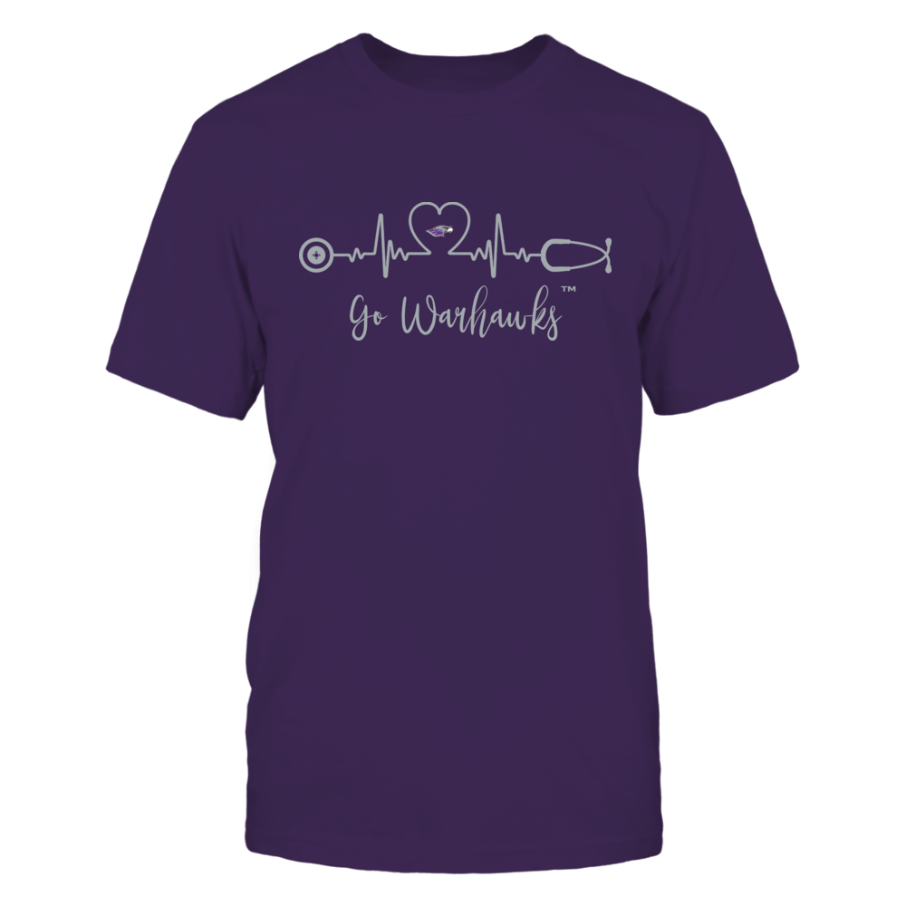 Wisconsin-Whitewater Warhawks - Heart ECG - Slogan Front picture