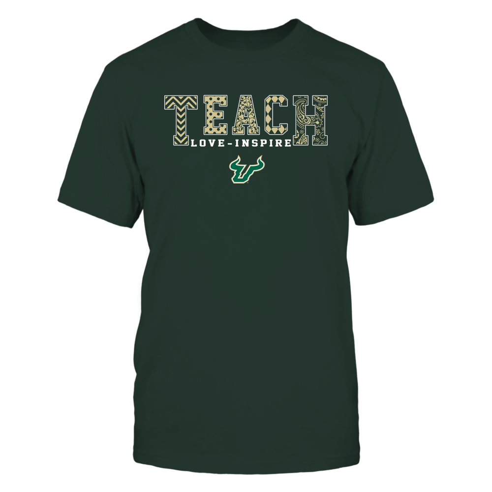 South Florida Bulls - 19082210336 - Teach Love Inspire - Slogan Pattern - IF-IC17-DS64 Front picture