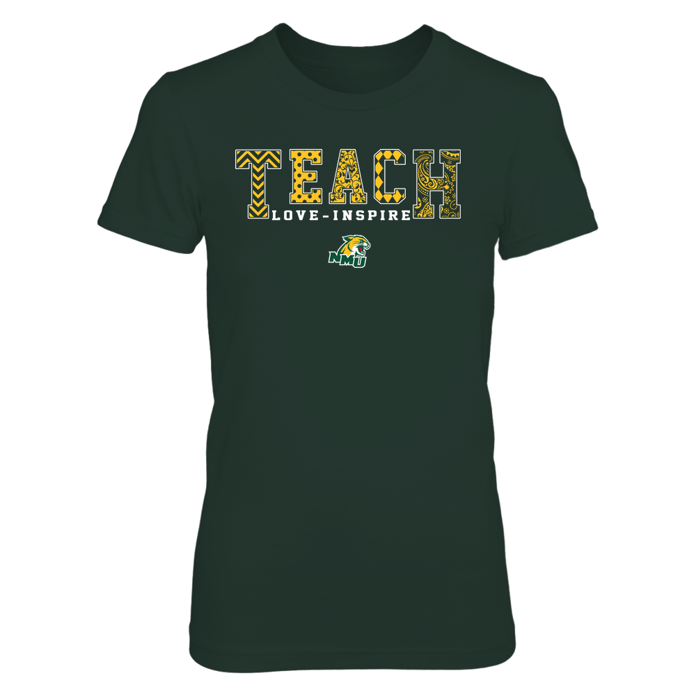 Northern Michigan Wildcats - 19082210336 - Teach Love Inspire - Slogan Pattern - IF17-IC17-DS27 Front picture
