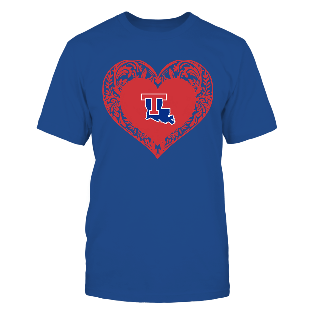 Louisiana Tech Bulldogs - Floral Patterned Heart - Logo - Team Front picture