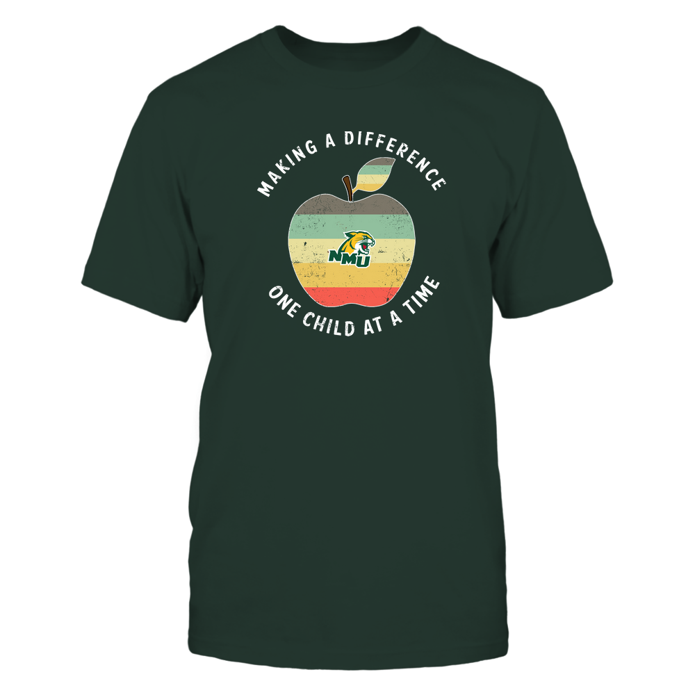 Northern Michigan Wildcats - Teacher - Difference Maker Apple Vintage Graphic Front picture