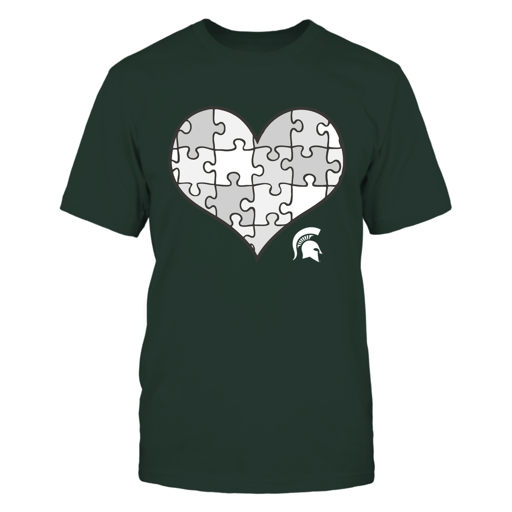 Michigan State Spartans - Puzzles Heart - Vintage Graphic Front picture
