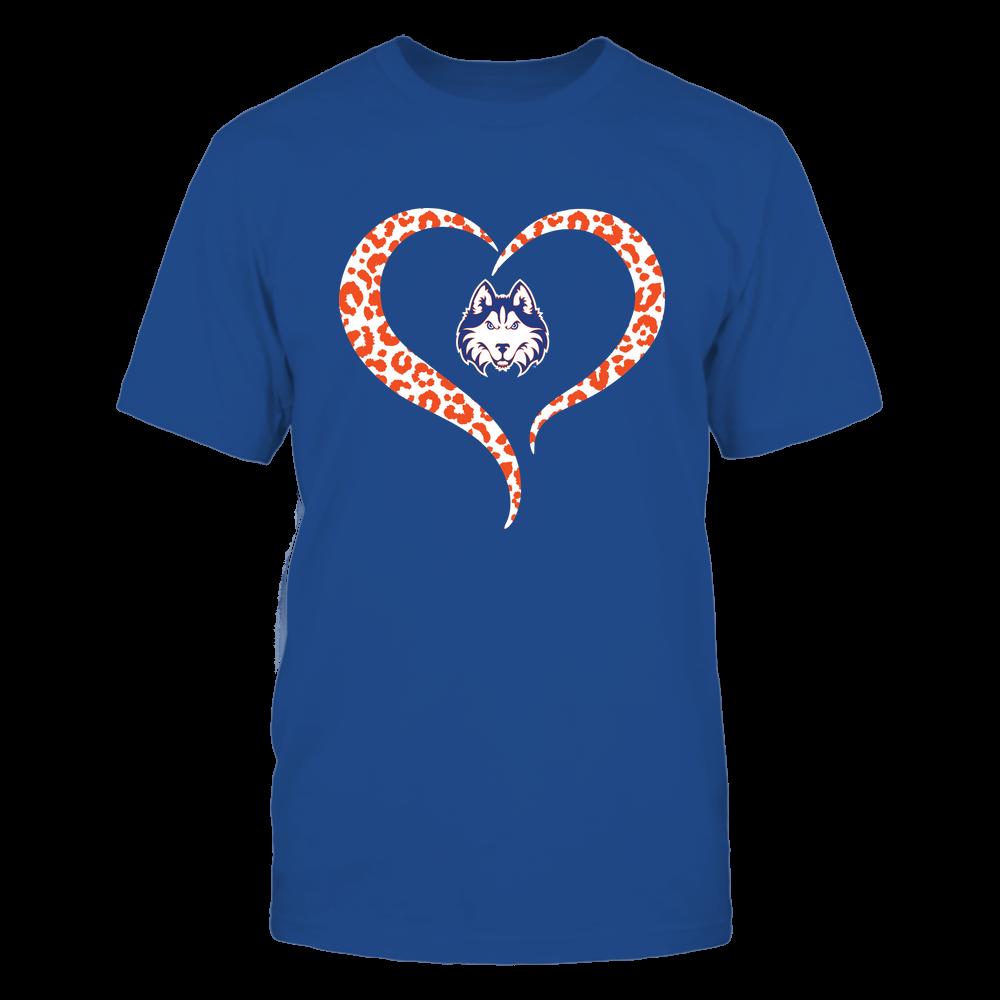 Houston Baptist Huskies - Half Heart - Leopard Pattern Front picture
