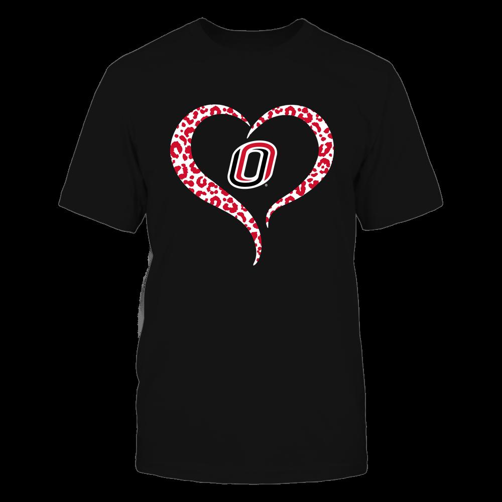 Nebraska Omaha Mavericks - Half Heart - Leopard Pattern Front picture