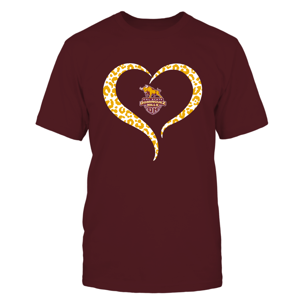 Cal State Dominguez Hills Toros - Half Heart - Leopard Pattern Front picture