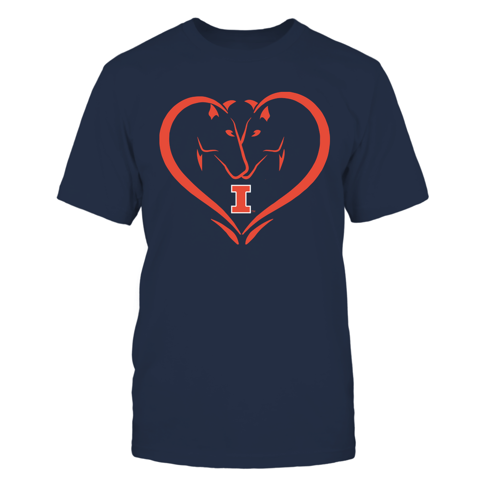 Illinois Fighting Illini - Dual Horses - Heart Shape - Team Front picture