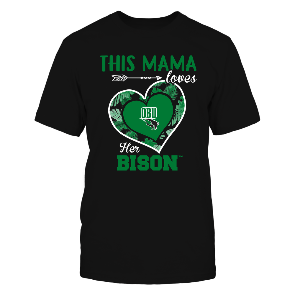 Oklahoma Baptist Bison - This Mama - Loves Her Team - Heart Foliage Front picture