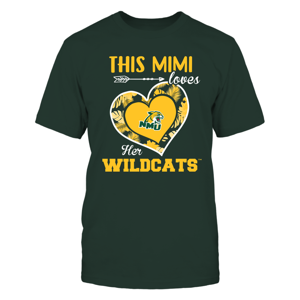 Northern Michigan Wildcats - This Mimi - Loves Her Team - Heart Foliage Front picture