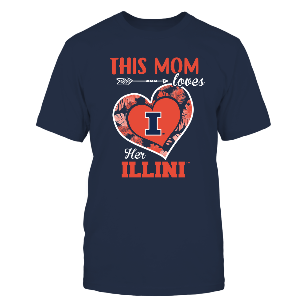 Illinois Fighting Illini - This Mom - Loves Her Team - Heart Foliage Front picture