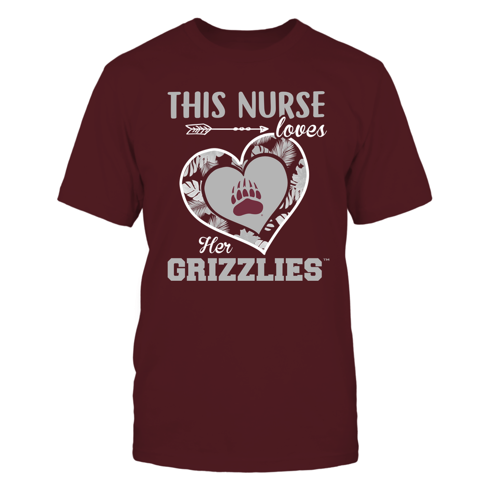Montana Grizzlies - This Nurse - Loves Her Team - Heart Foliage Front picture