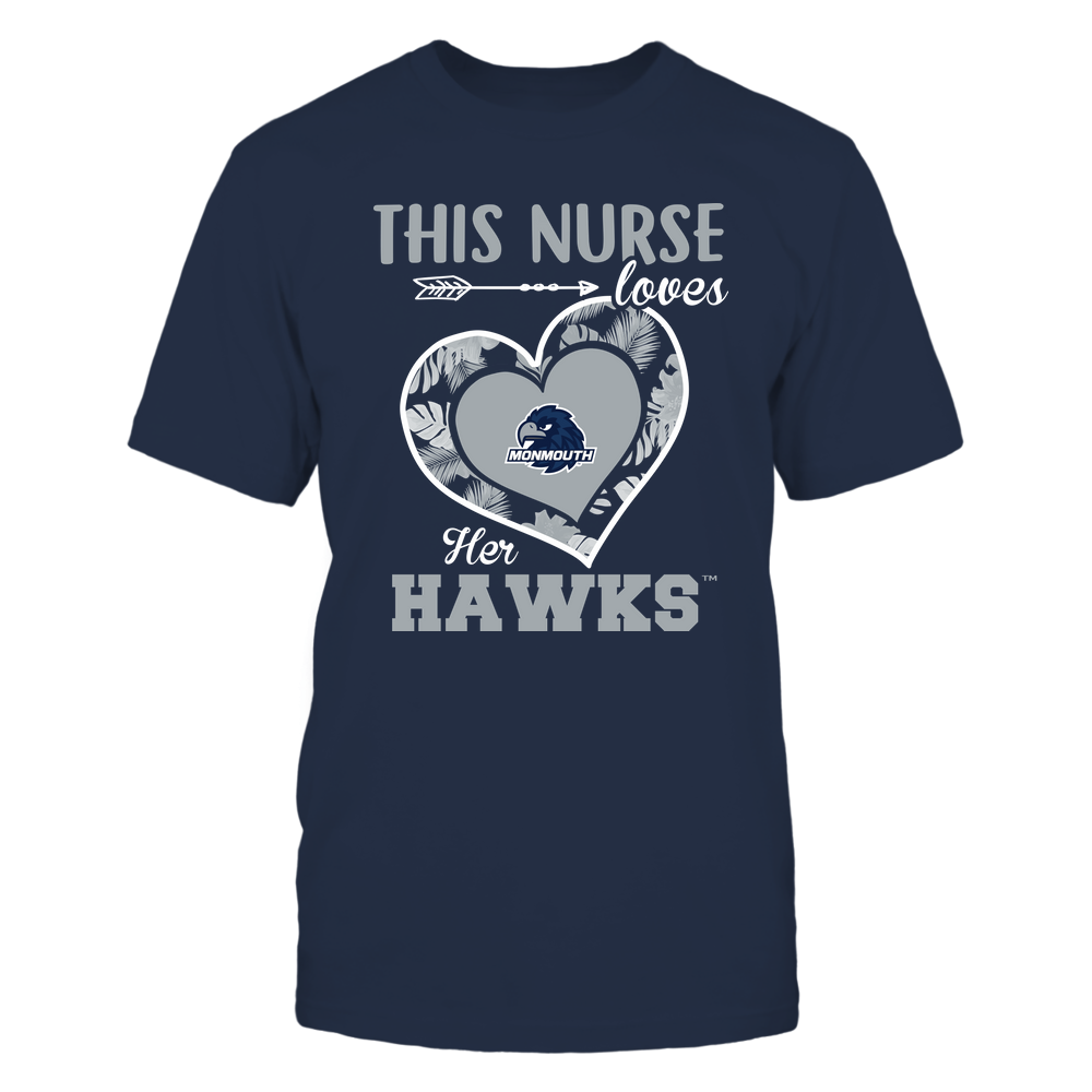 Monmouth Hawks - This Nurse - Loves Her Team - Heart Foliage Front picture