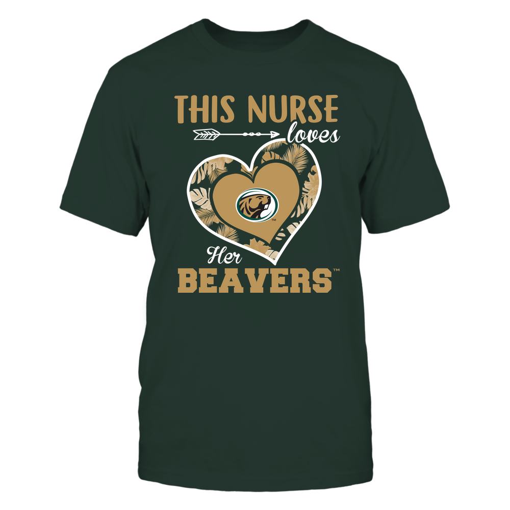 Bemidji State Beavers - This Nurse - Loves Her Team - Heart Foliage Front picture