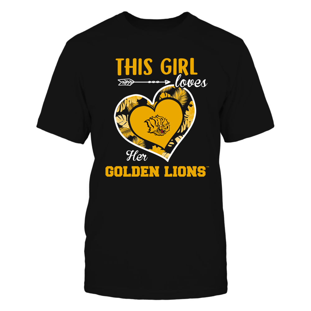 Arkansas Pine Bluff Golden Lions - This Girl - Loves Her Team - Heart Foliage Front picture