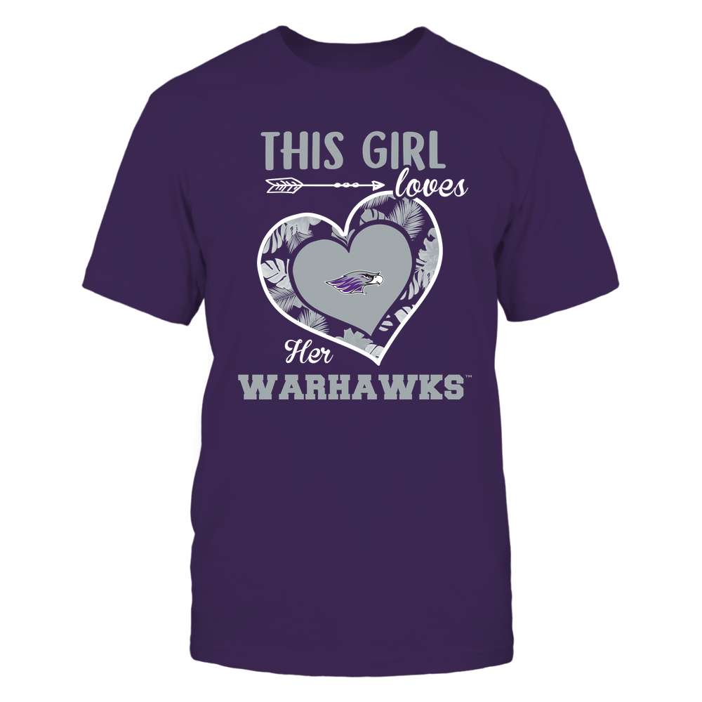 Wisconsin-Whitewater Warhawks - This Girl - Loves Her Team - Heart Foliage Front picture