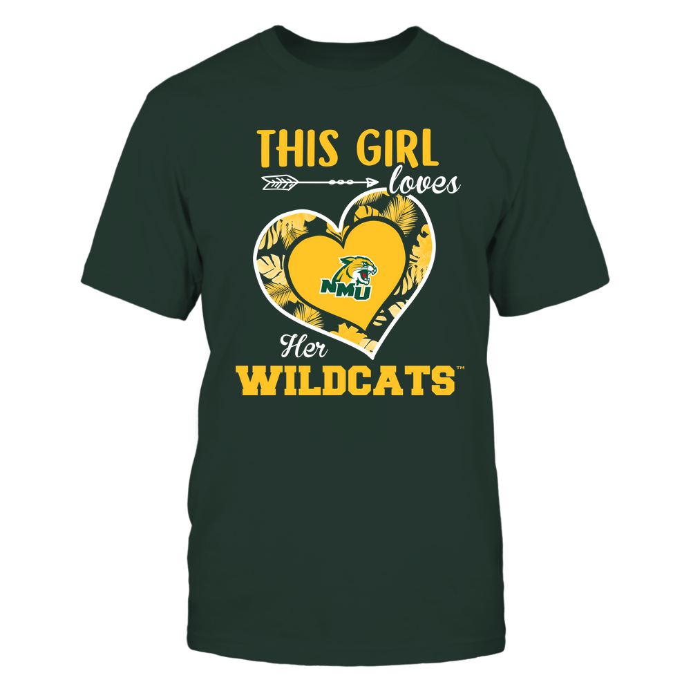 Northern Michigan Wildcats - This Girl - Loves Her Team - Heart Foliage Front picture