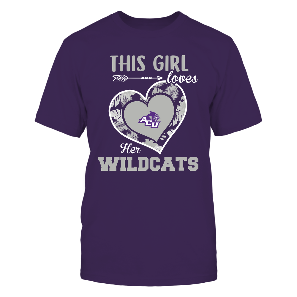 Abilene Christian Wildcats - This Girl - Loves Her Team - Heart Foliage Front picture