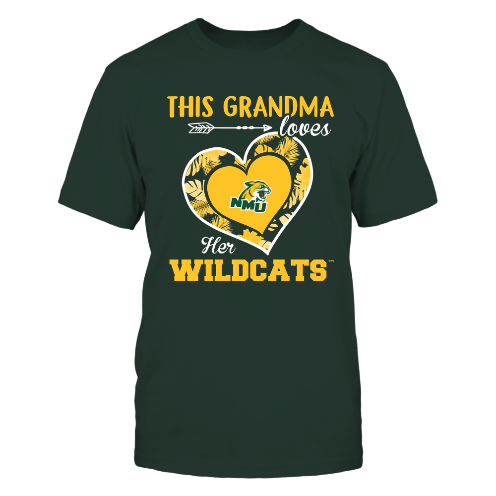 Northern Michigan Wildcats - This Grandma - Loves Her Team - Heart Foliage Front picture