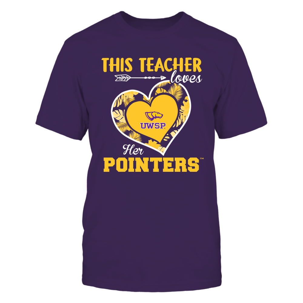 Wisconsin-Stevens Point Pointers - This Teacher - Loves Her Team - Heart Foliage Front picture