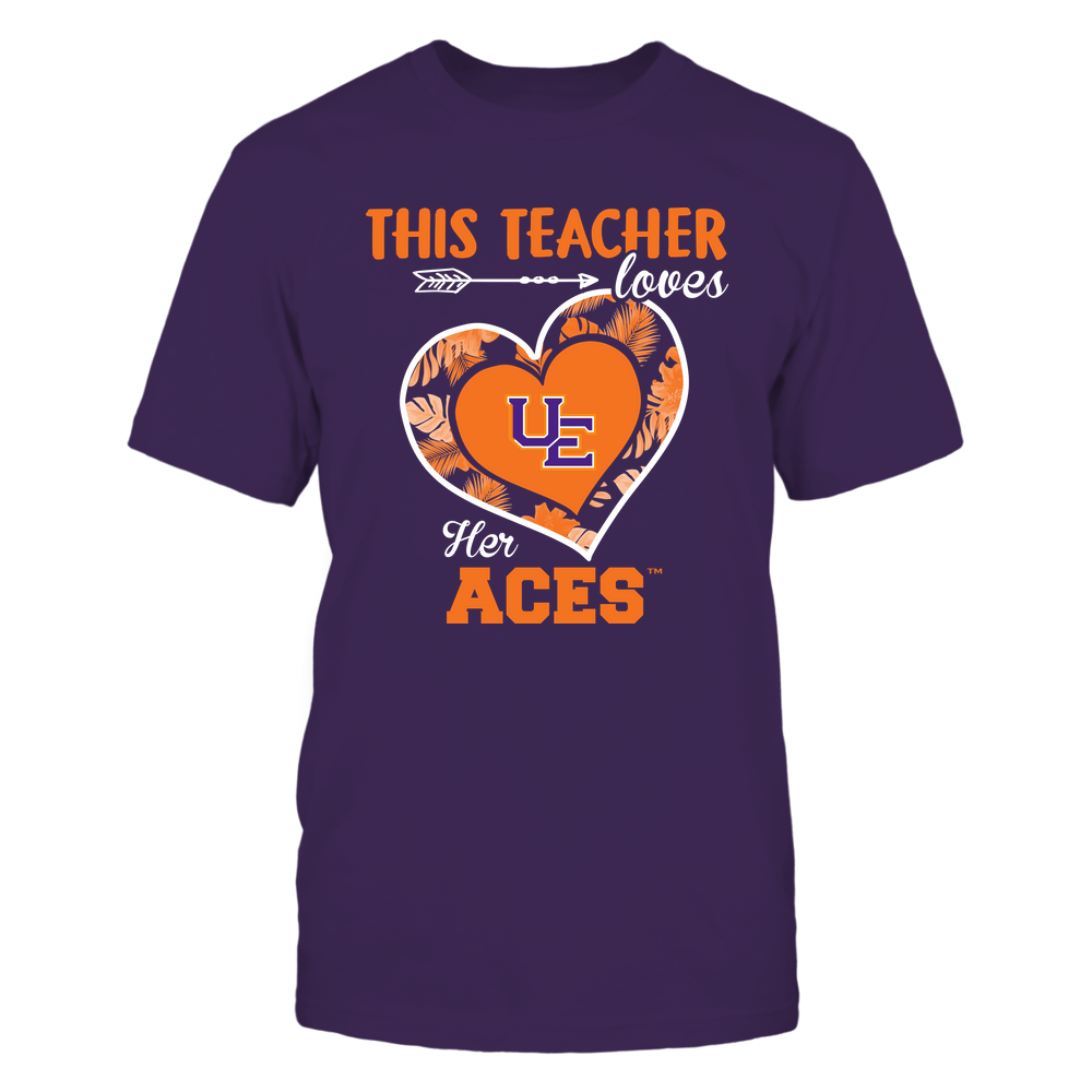 Evansville Purple Aces - This Teacher - Loves Her Team - Heart Foliage Front picture