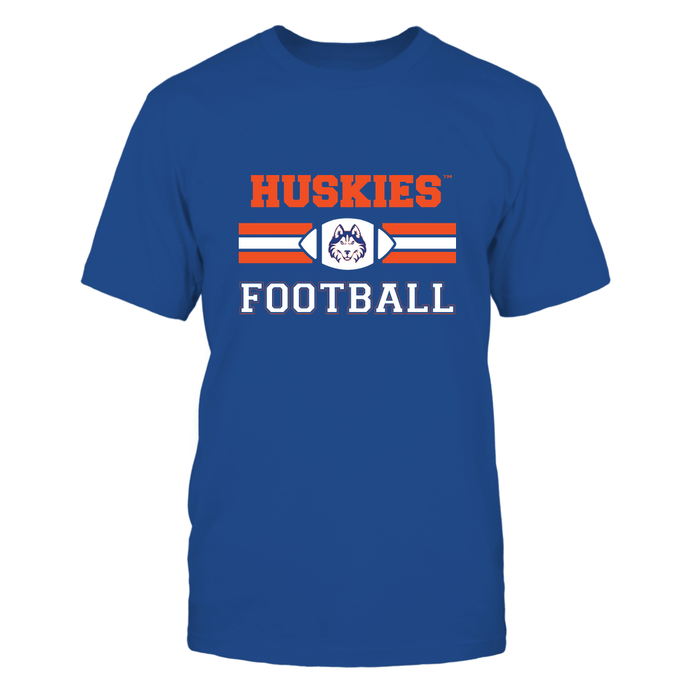 Houston Baptist Huskies - Football - Center Logo - Retro Stripes Front picture