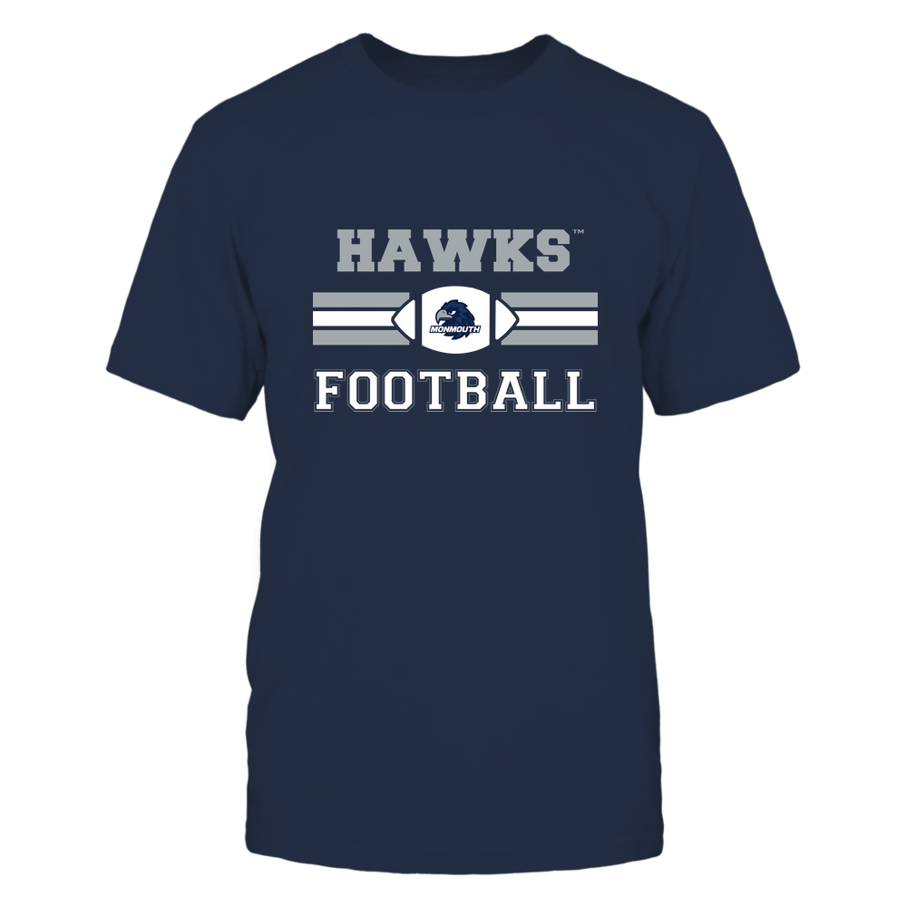 Monmouth Hawks - Football - Center Logo - Retro Stripes Front picture