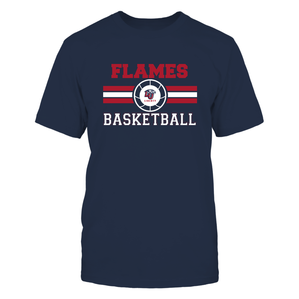 Liberty Flames - Basketball - Center Logo - Retro Stripes Front picture
