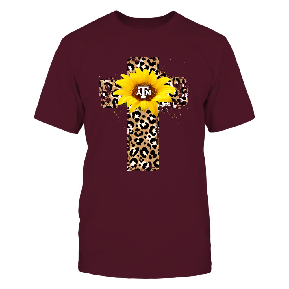 Texas A&M Aggies - Cross Shape Leopard Sunflower - IF13-IC13-DS37 Front picture