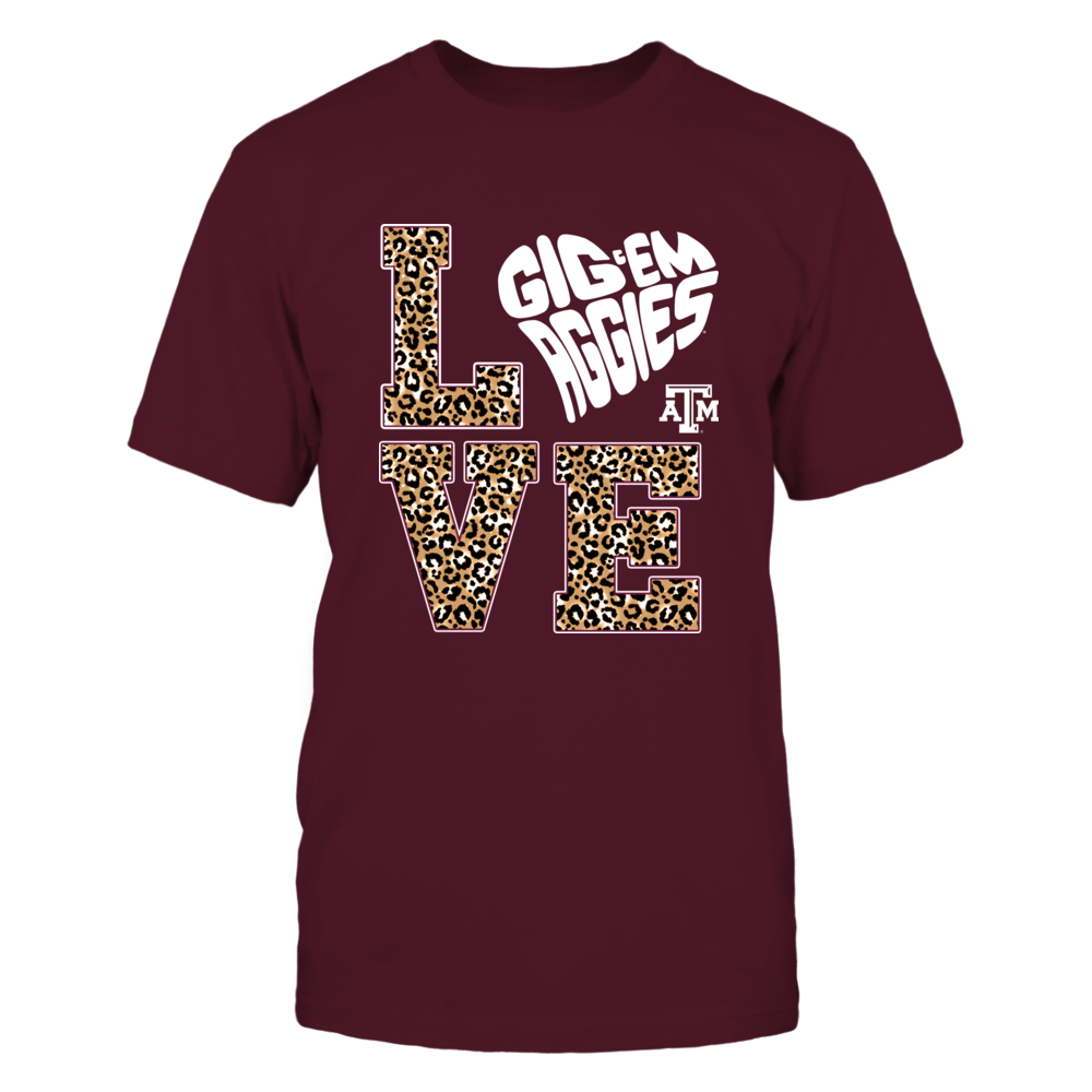 Texas A&M Aggies - Stacked Love - Slogan Heart Shape - Leopard Pattern - IF13-IC13-DS45 Front picture