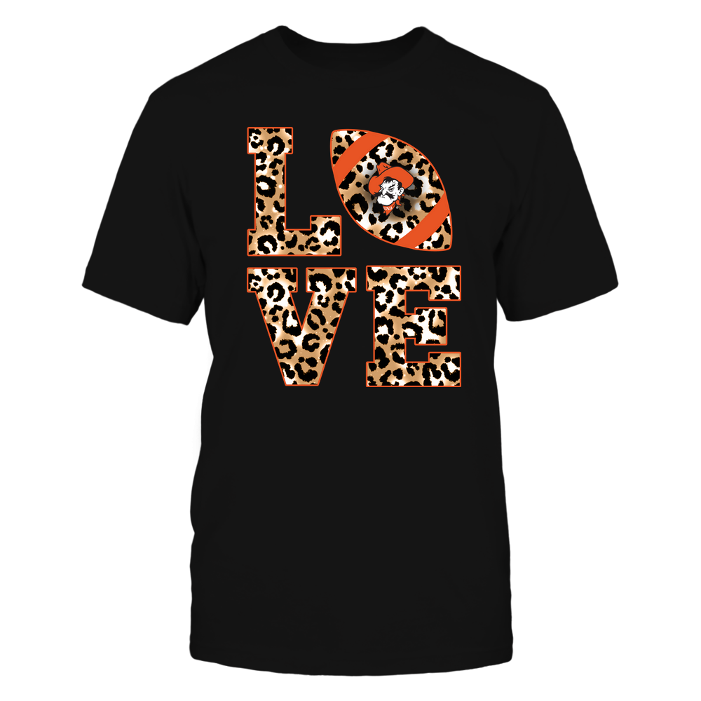 Oklahoma State Cowboys - 19082610574 - Stacked Love Football - Leopard - IF-IC17-DS64 - APCX Front picture