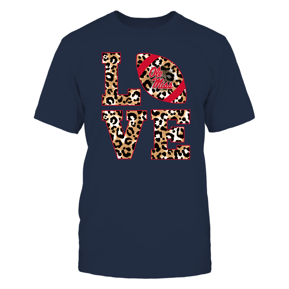Ole Miss Rebels - 19082610574 - Stacked Love Football - Leopard - APCX Front picture