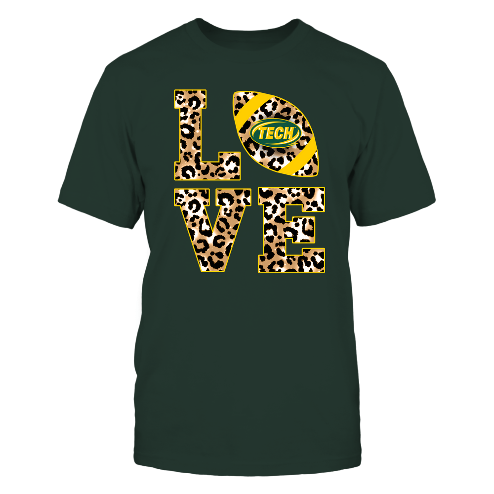 Arkansas Tech Golden Suns - 19082610574 - Stacked Love Football - Leopard Front picture