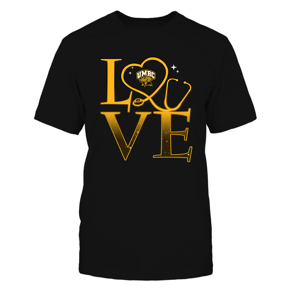 UMBC Retrievers - Stacked Love Swirly Heart - Nurse Front picture