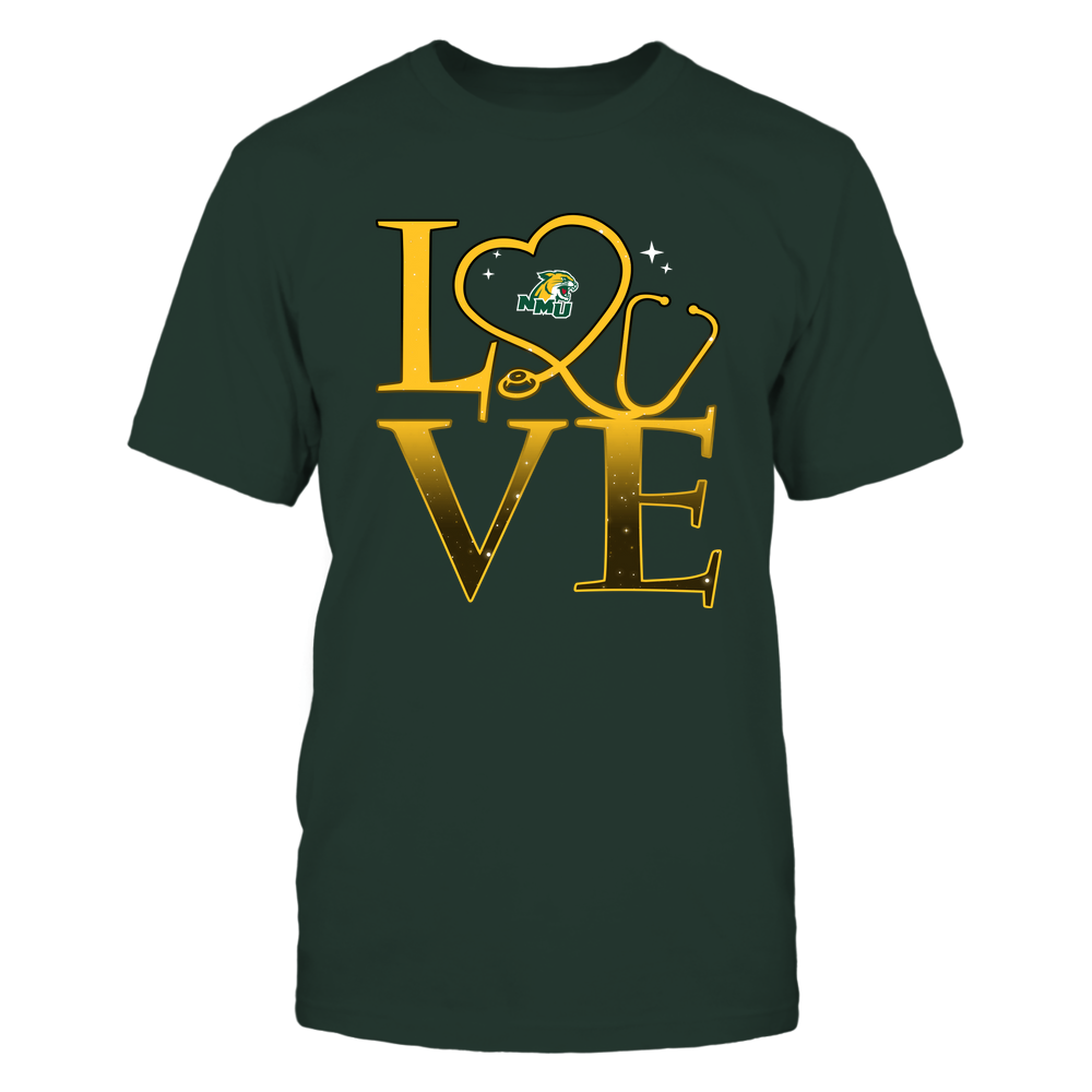 Northern Michigan Wildcats - Stacked Love Swirly Heart - Nurse Front picture