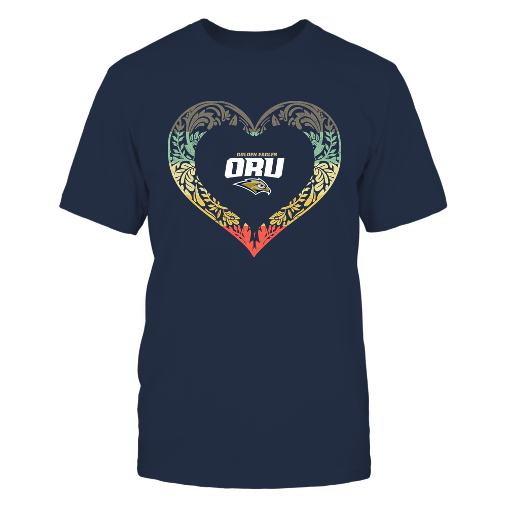 Oral Roberts Golden Eagles - Pattern Heart - Vintage Graphic Front picture