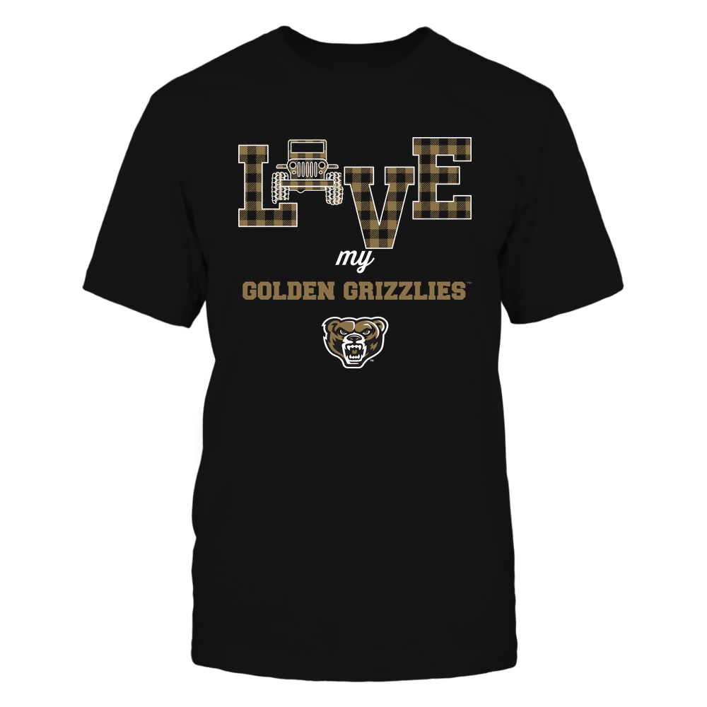 Oakland Golden Grizzlies - Love My Team - Jeep - Checked Pattern Front picture