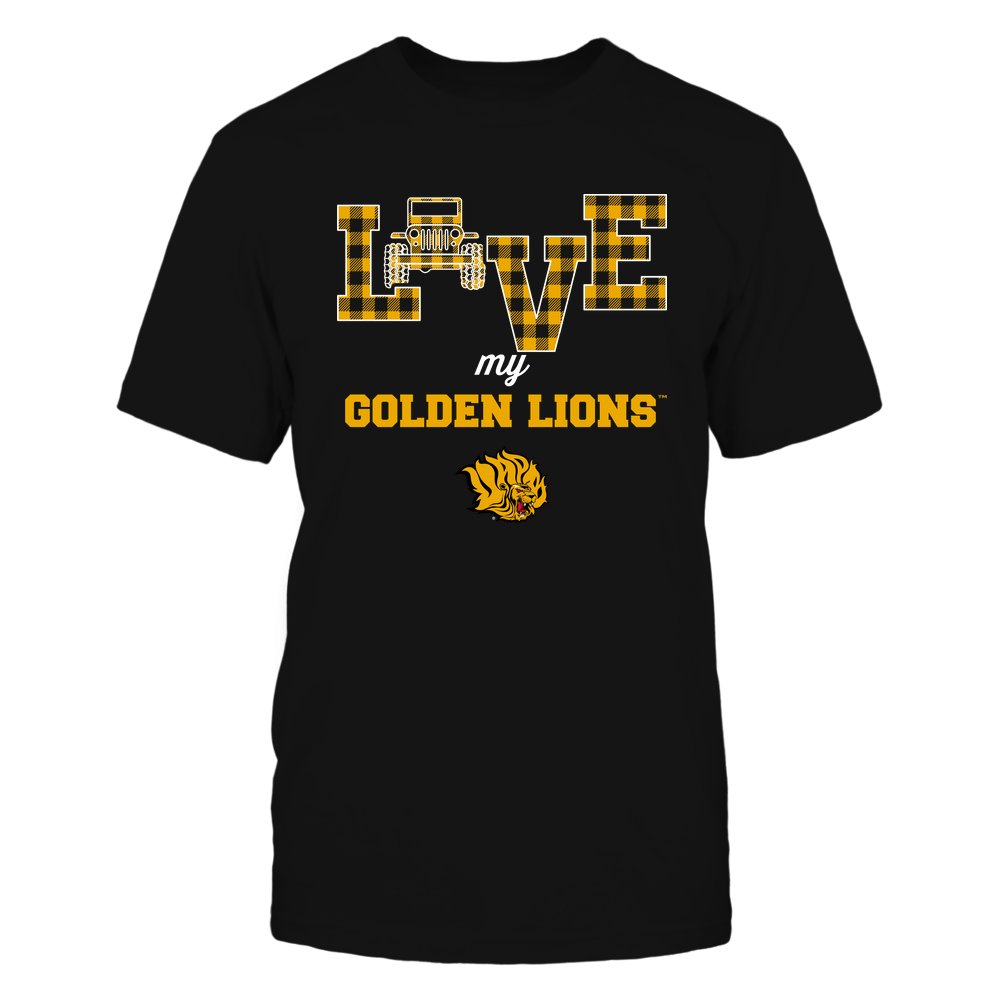 Arkansas Pine Bluff Golden Lions - Love My Team - Jeep - Checked Pattern Front picture