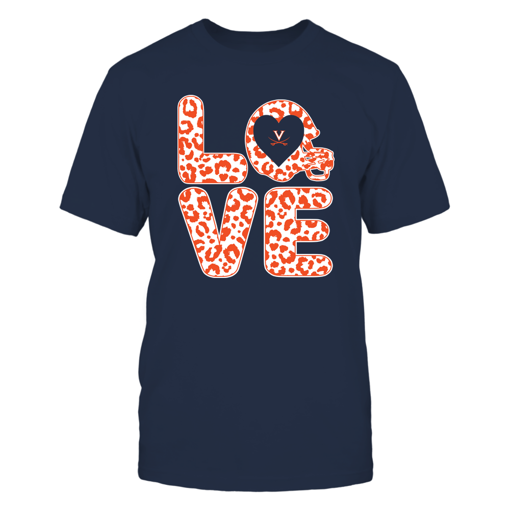 Virginia Cavaliers - Stacked Love - Leopard Football Helmet Front picture