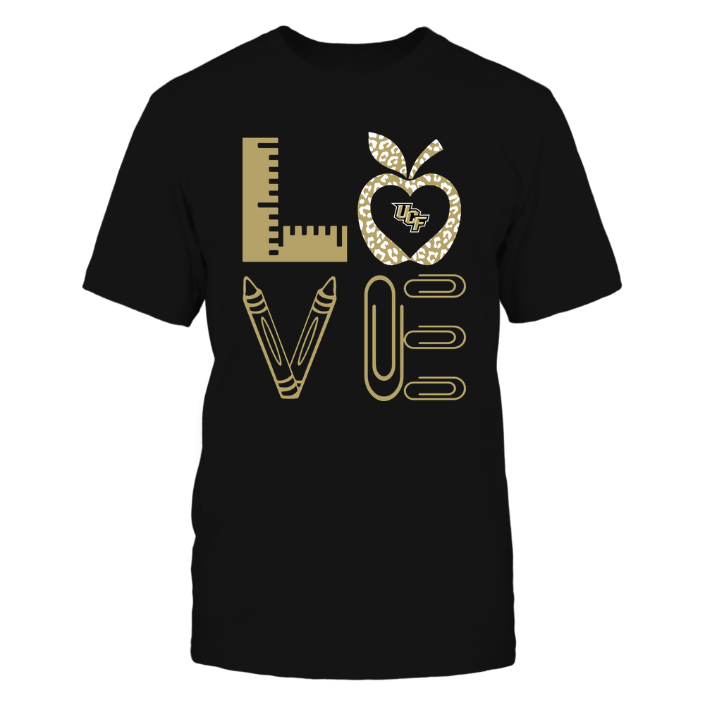UCF Knights - Stacked Love - Teacher Things - Leopard Apple Front picture
