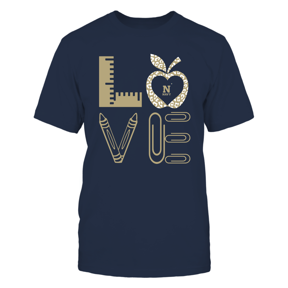 Navy Midshipmen - Stacked Love - Teacher Things - Leopard Apple Front picture