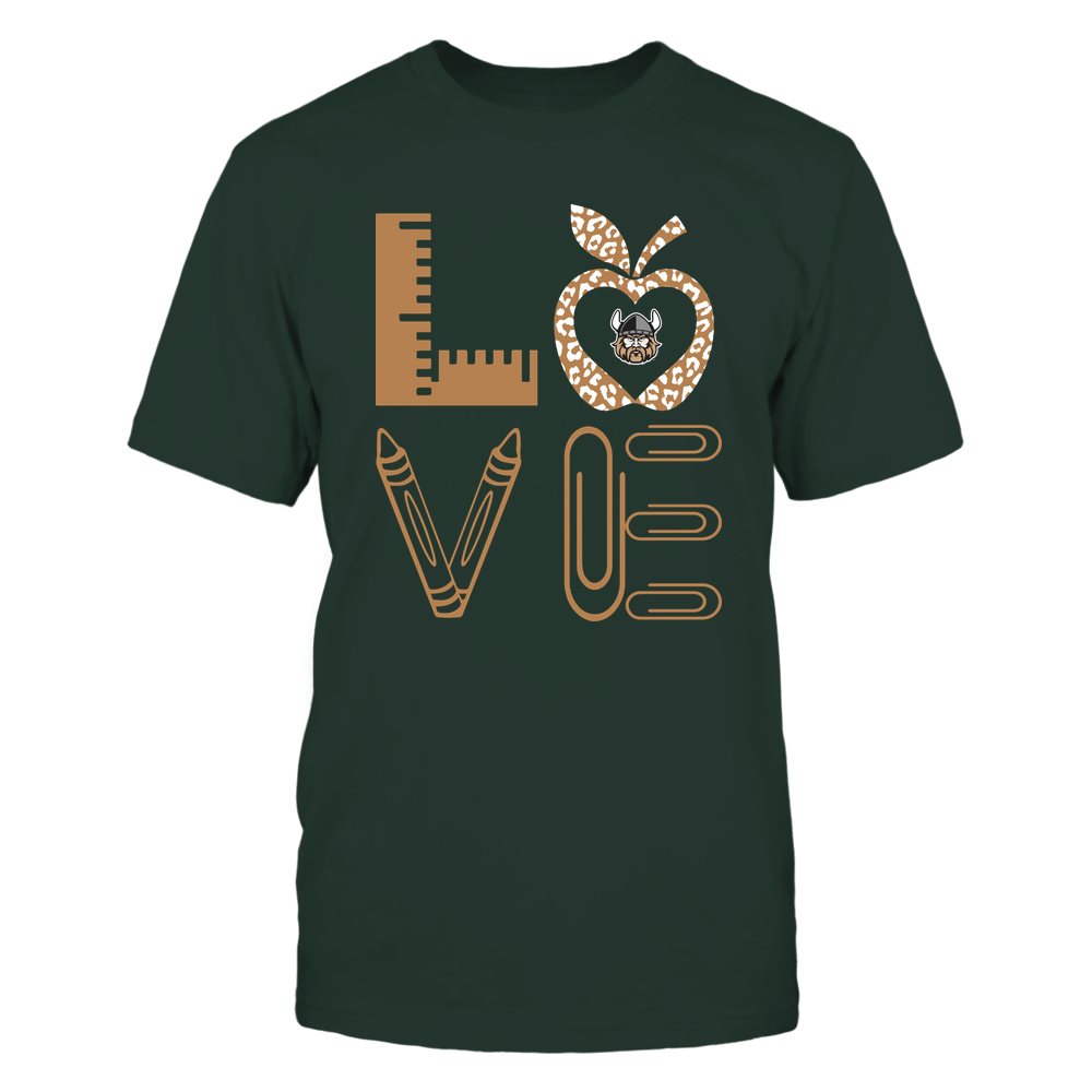 Cleveland State Vikings - Stacked Love - Teacher Things - Leopard Apple Front picture