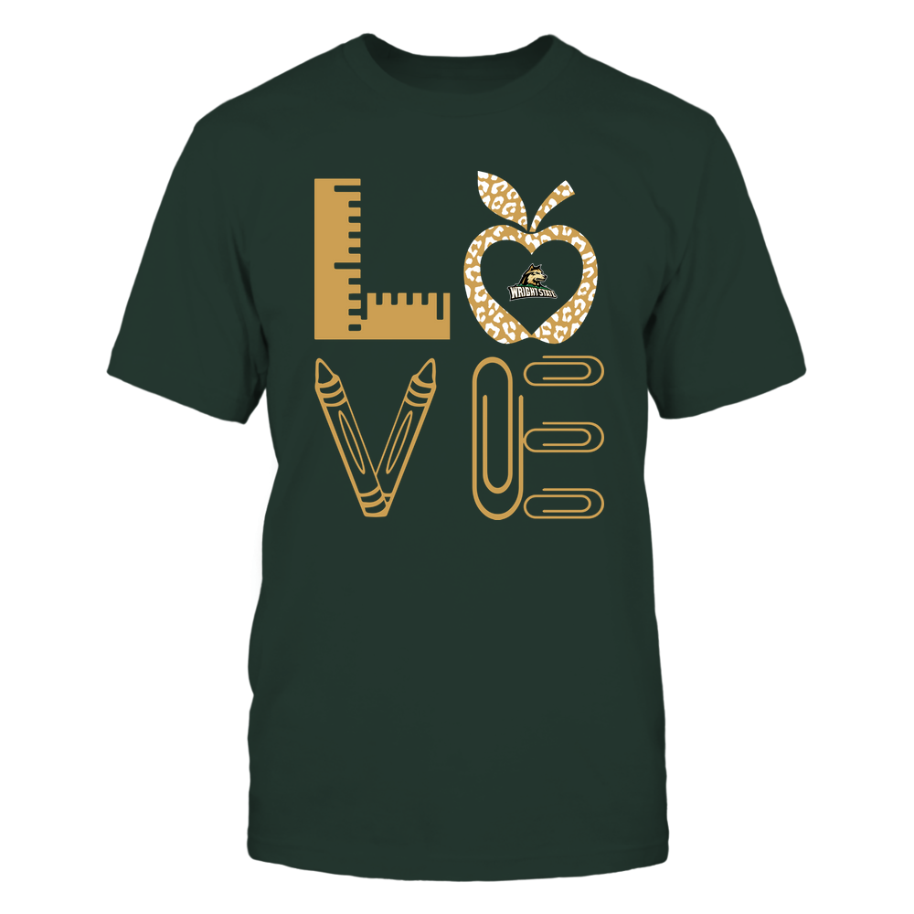 Wright State Raiders - Stacked Love - Teacher Things - Leopard Apple Front picture
