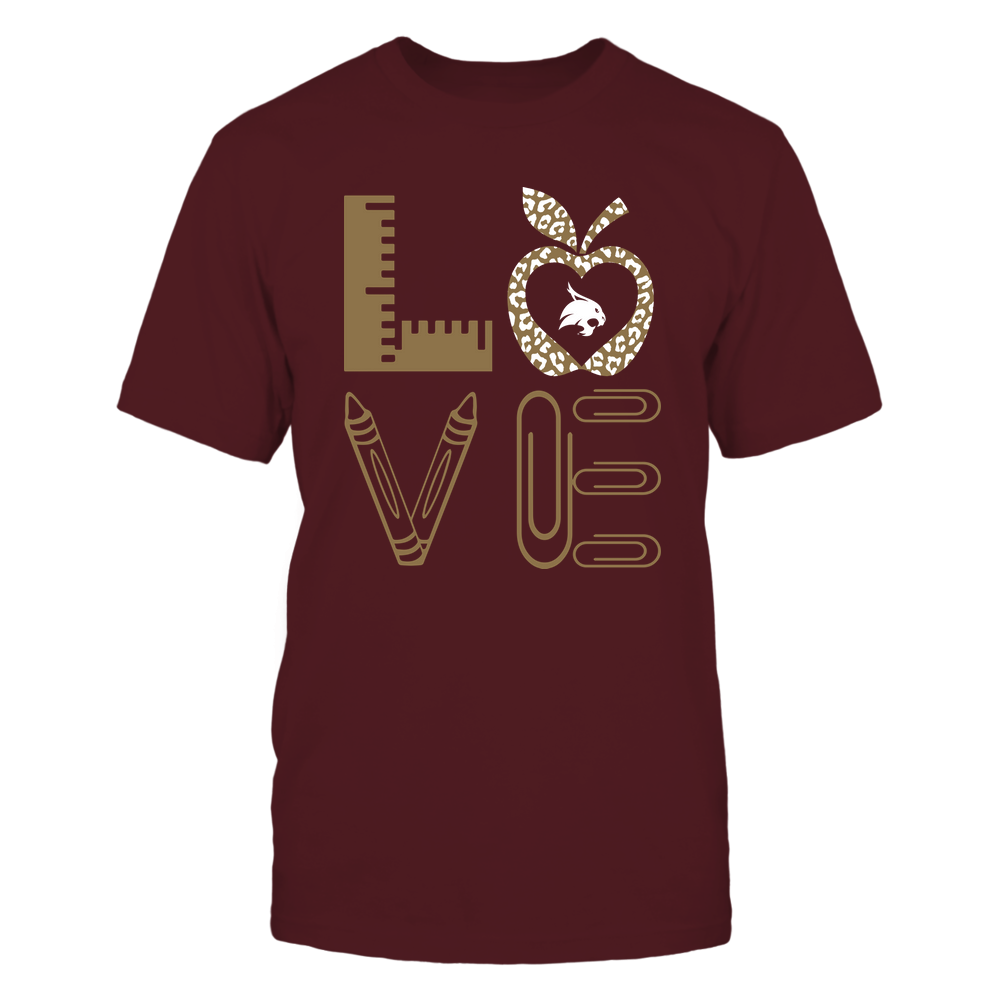 Texas State Bobcats - Stacked Love - Teacher Things - Leopard Apple Front picture