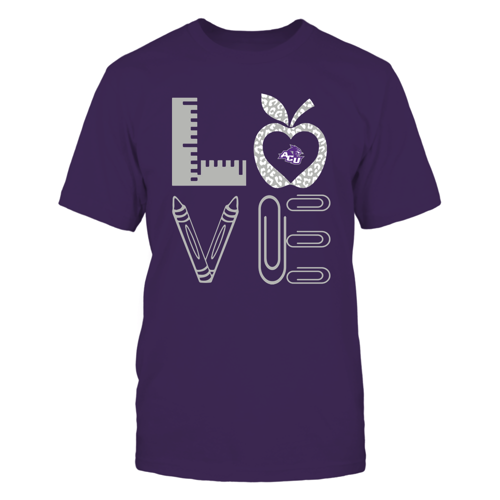 Abilene Christian Wildcats - Stacked Love - Teacher Things - Leopard Apple Front picture