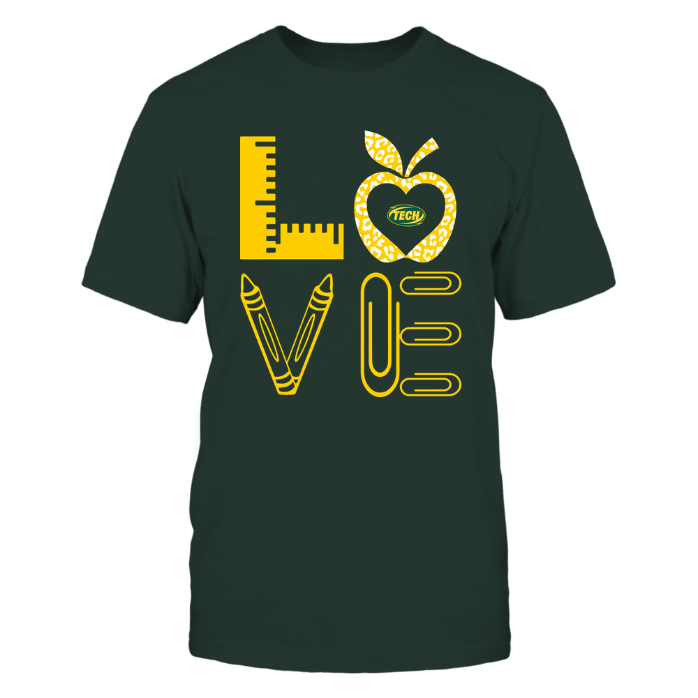 Arkansas Tech Golden Suns - Stacked Love - Teacher Things - Leopard Apple Front picture