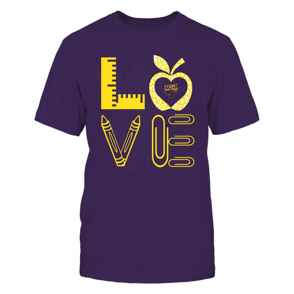 Minnesota State Mavericks - Stacked Love - Teacher Things - Leopard Apple Front picture